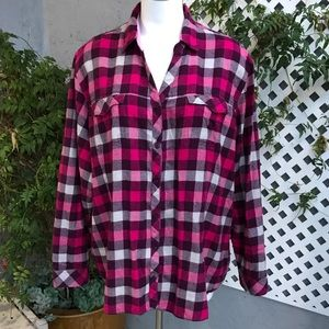 COLUMBIA Pink White Flannel Button Shirt Plus 3X